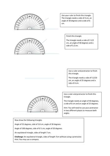 Scaffolded worksheet for constructing triangles