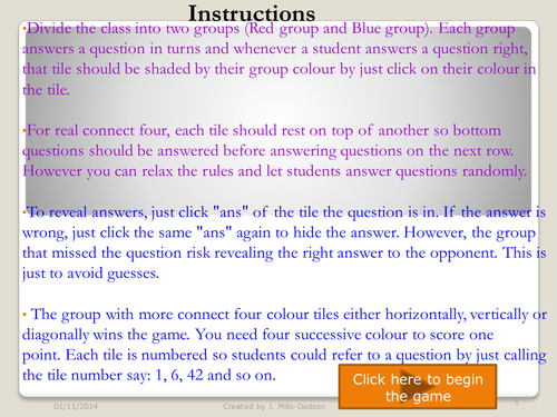 Connect 4 Game on Expanding brackets, Equations, Directed numbers, fractions and percentages
