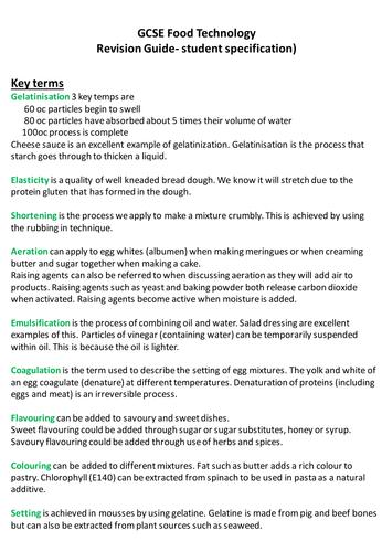 Food Tech GCSE AQA student friendly specification