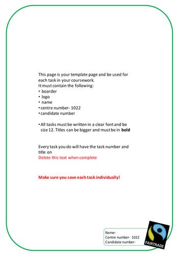 Food Tech AQA coursework template