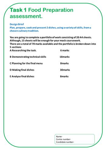 Food Preparation and Nutrition GCSE NEA 2 Template AQA