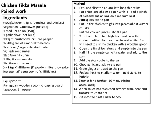 Food Preparation and Nutrition KS3. 14 recipe cards