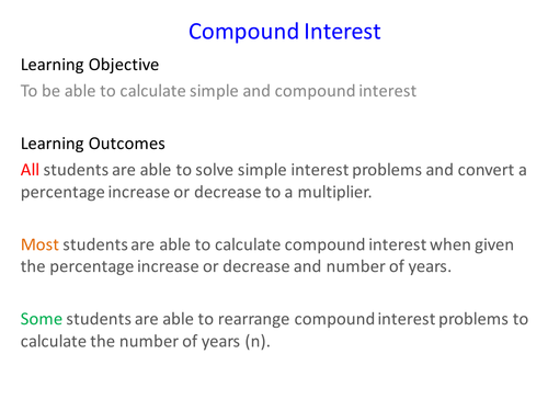 Simple and compound interest cards by moggy89 Teaching Resources – Compound Interest Word Problems Worksheet