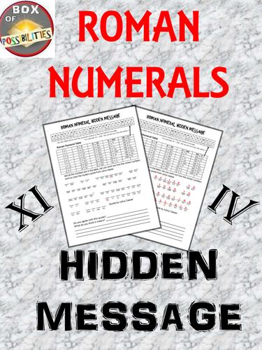 Roman Numerals Hidden Message A Rome Activity Involving