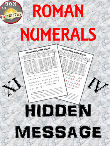 Roman Numerals Hidden Message: A Rome Activity involving Roman numerals.