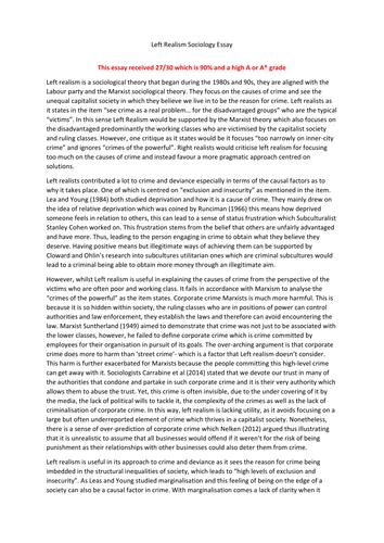 EXEMPLAR A/A* ESSAY Left Realism- Crime and Deviance Essay