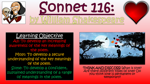 sonnet william shakespeare love and relationships poetry sonnet 116 william shakespeare love and relationships poetry by tandlguru teaching resources tes