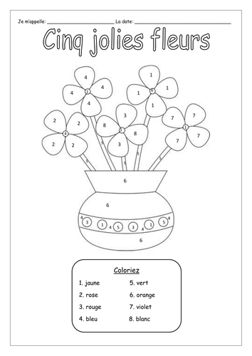 FRENCH COLOURS - Les Couleurs - Colour by Numbers - Worksheets