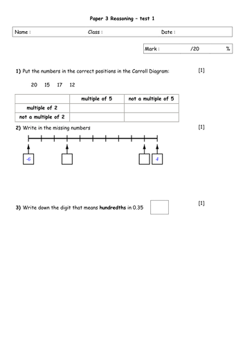 KS2 reasoning paper year 6 practice