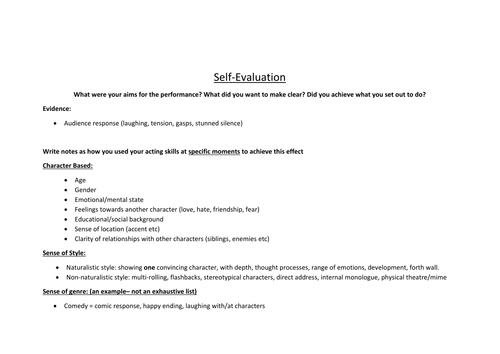 what to write in an evaluation