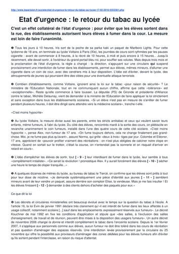 Reading comprehension (IB French B SL Paper 1 - style) on Smoking in schools