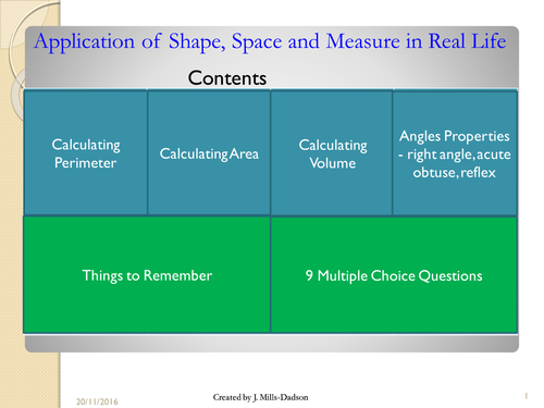 Functional skill on Space, Shape and Measure