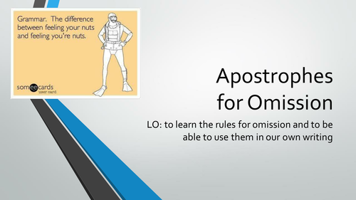 Apostrophes for Omission / Contractions