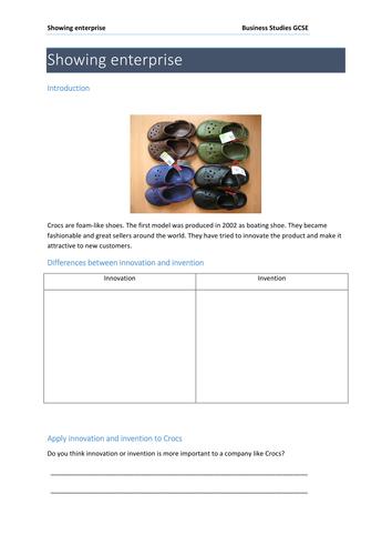 Showing enterprise innovation invention lesson  GCSE Business Studies (Edexcel)
