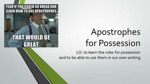 Apostrophes for Possession