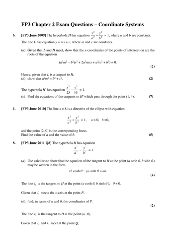 Worksheets Hyperbola Worksheet fp3 chapter 2 further coordinate systems by drfrostmaths teaching resources tes