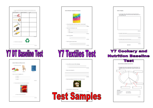 Y7 Design Technology and Cookery and Nutrition Tests