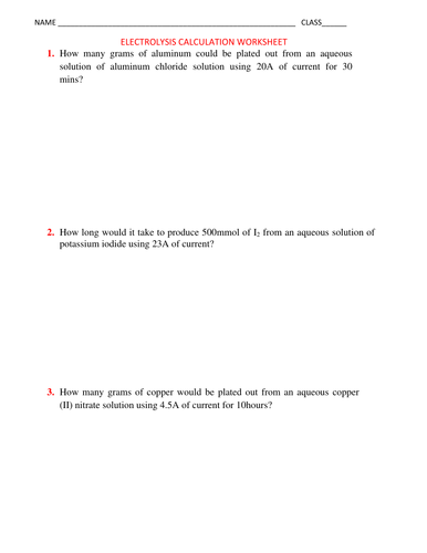 ELECTROLYSIS CALCULATION WORKSHEET WITH ANSWERS by kunletosin246 ...
