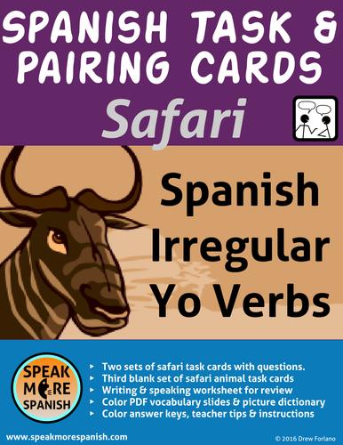 Spanish Task & Pairing Cards * Irregular YO Form Present Verbs *SAFARI* Presente Verbos Irregulares