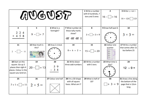 Calendar Worksheet Ks : Question a day calendar maths august ks by