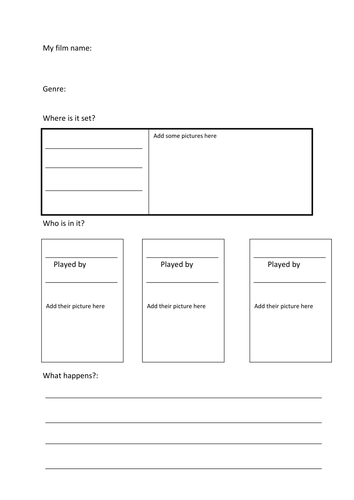 Film planning worksheet