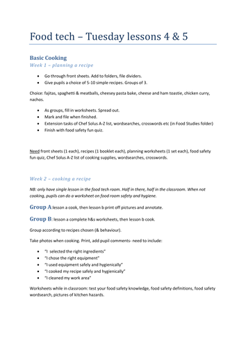 Entry Pathways- Food Studies- Basic Cooking worksheets