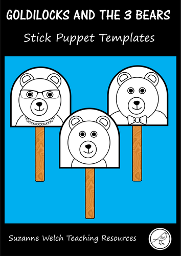 Goldilocks and the 3 Bears - stick puppet templates