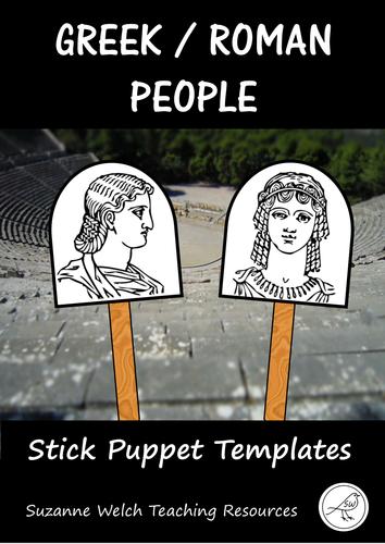 Greek/Roman people - stick puppet templates
