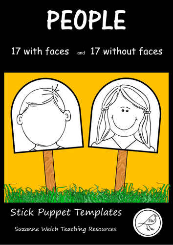 Stick Puppet Templates - People heads - 17 faces and 17 blank faces