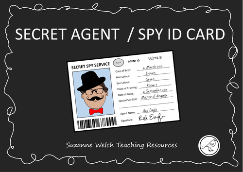 spy id card template - spy id secret agent id template by swelch resources