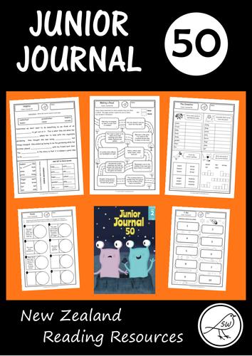 Junior Journal Worksheets (number 50) - New Zealand reading programme