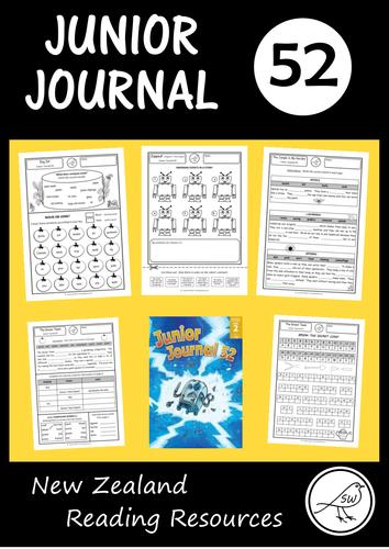 Junior Journal Worksheets (number 52) - New Zealand reading programme