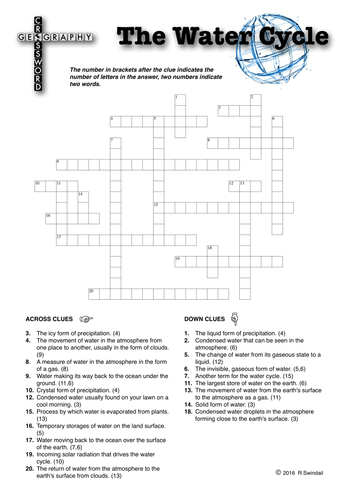 Crossword Puzzle: The Water Cycle
