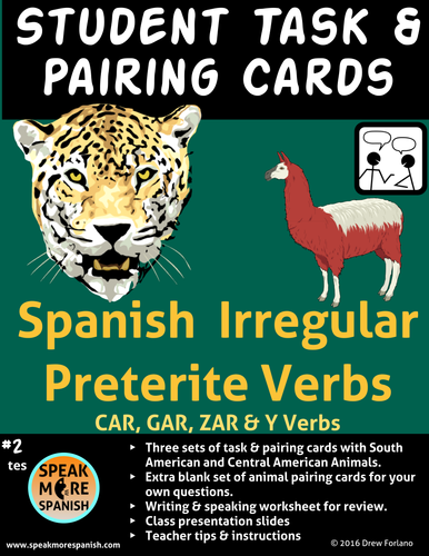 Spanish Task Cards Irregular Verbs - Works for BOTH Present and Preterite!