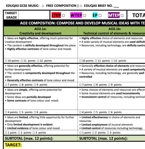 Eduqas GCSE Music Assessment Tools