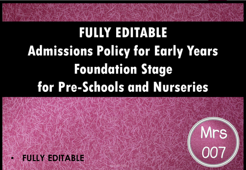 Admissions Policy for Early Years Departments, Nurseries and Preschools