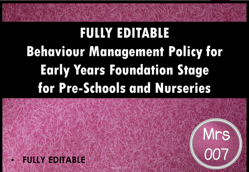 Behaviour Management Policy for Early Years Departments, Nurseries and Preschools