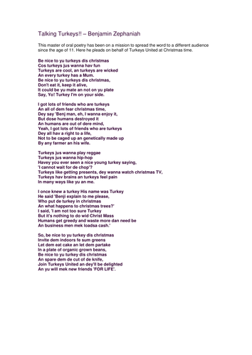 talking turkeys poem