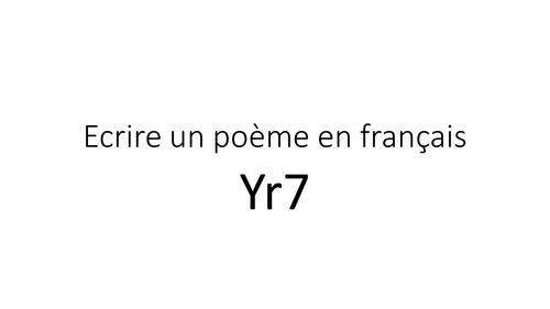 Ecrire un poème en français  / Write a poem in French