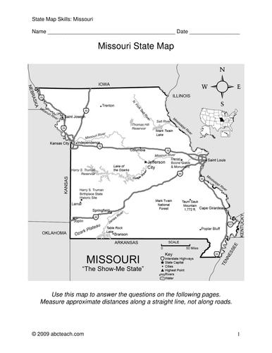 Missouri - Map Skills