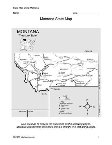 Montana - Map Skills