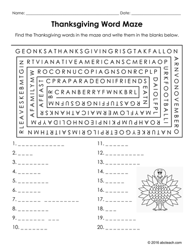 Word Puzzles: Thanksgiving Packet