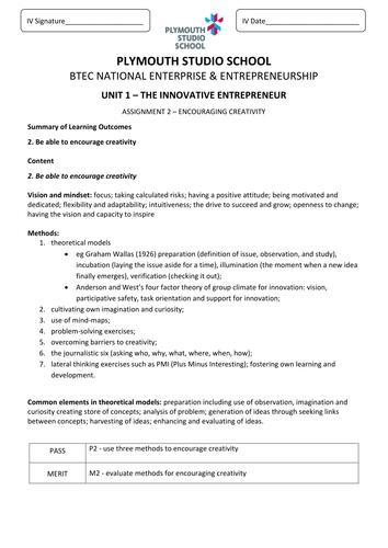 BTEC Level 3 Enterprise and Entrepreneurship, Unit 1 all assignment briefs
