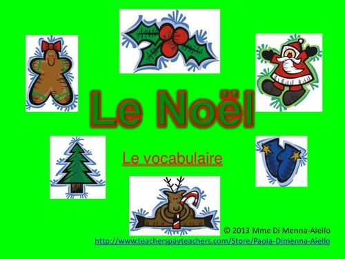 Noël (Christmas) vocabulary Powerpoint