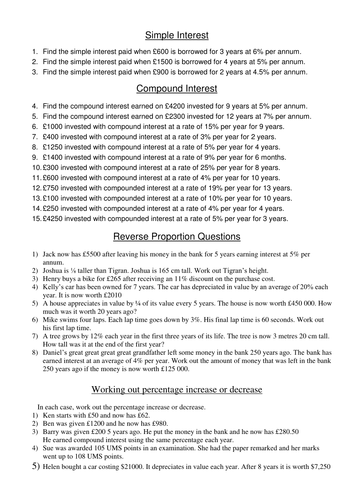 Worksheet to practise Simple and Compound interest, and reverse proportion