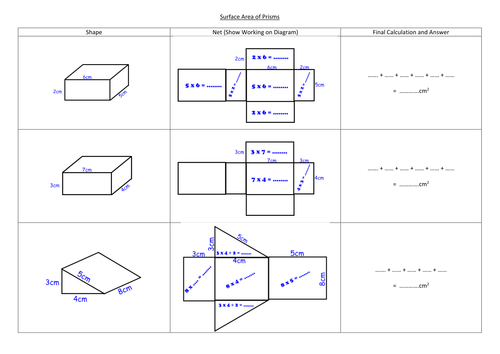 Surface area of prisms Packaging by mizzhappy Teaching – Surface Area Prism Worksheet