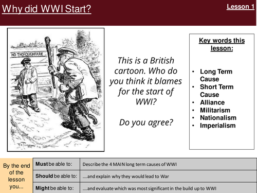 Long And Short Term Causes Of Wwi By Ellenmaep Teaching Resources