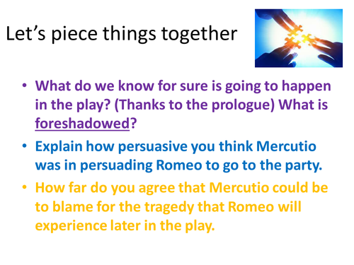 Romeo and Juliet new specification 9-1 Act 1 scene 4 updated