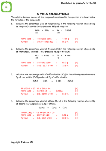 Printables Percent Yield Worksheet percent yield calculations worksheet worksheets for school kaessey laurenpsyk free