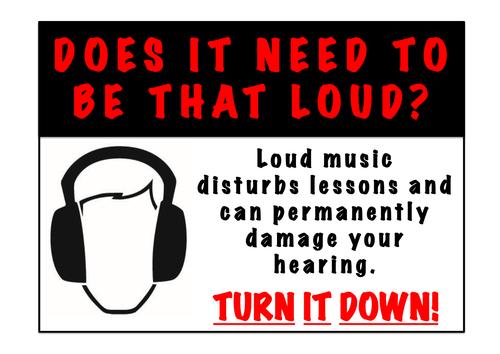 Loud Music Poster for Practice Rooms - Turn it Down!
